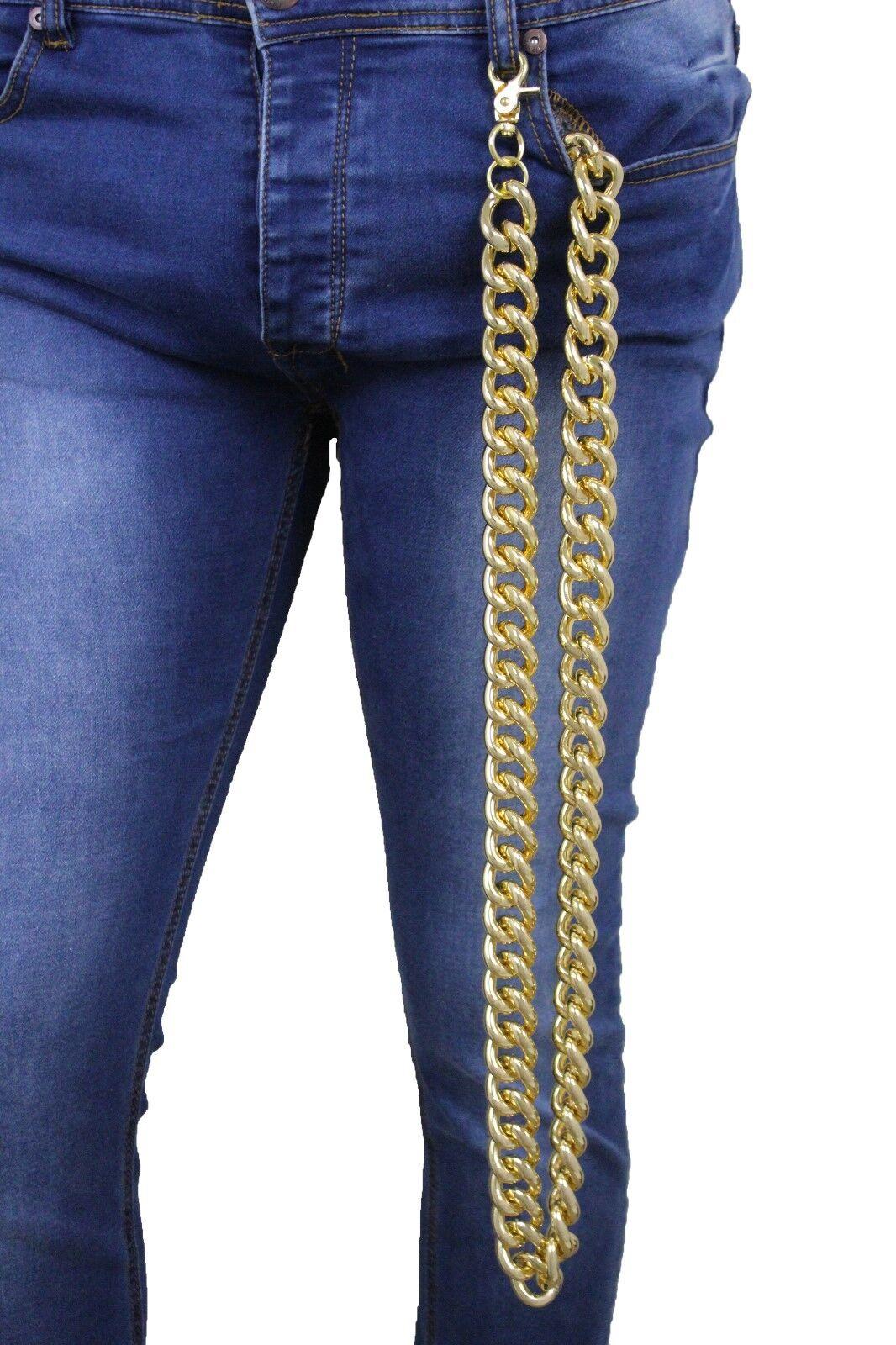 Herren Damen Gold Grob Metall Glieder Extra Sehr Lang Etui Kette Key Clip Biker
