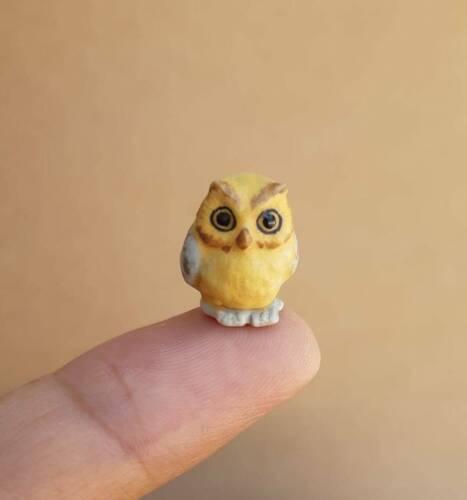 Tiny Yellow Owl Bird Ceramic Figurine Miniature Birds Statue Collectible Gift