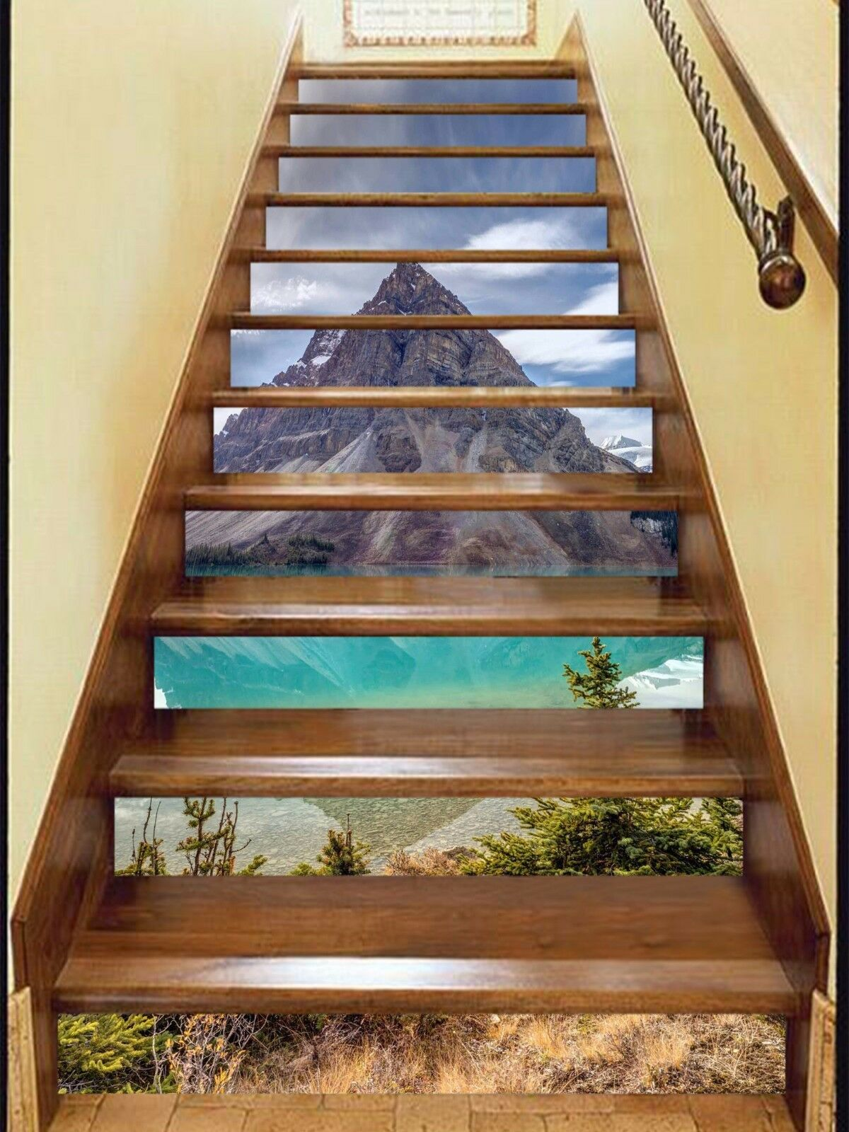 3D Sky mountain 37 Stair Risers Decoration Photo Mural Vinyl Decal Wallpaper UK