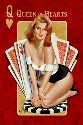 Queen of Hearts Pinup Girl 4x6 Fridge Refrigerator Magnet Photo Man Cave DECOR