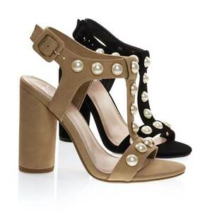 748c182328a Details about Laveda Pearl Encrusted Sandal On Cylinder Chunky Block Heel,  Women's Party Shoes