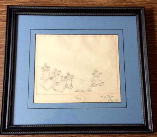 Vintage Mickey Mouse Production Drawing Cel 1930s Disney Framed | eBay