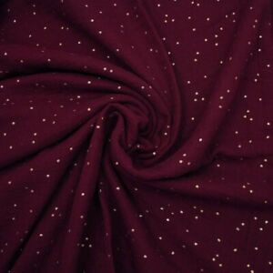Double-Gauze-Gold-Dot-Wine-100-Cotton-Fabric-Dressmaking