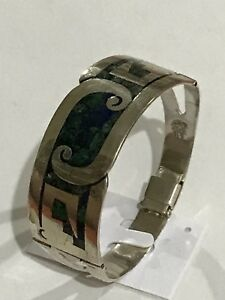 Taxco-Mexico-Sterling-Silver-Blur-amp-green-Inlay-Hinged-bracelet-7-5-40-Grams