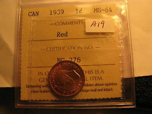 Canada-1939-Small-Cent-Penny-MS-64-Red-ICCS-Certified-ID-A19