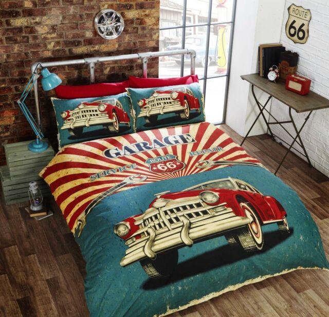 Retro American Car Stars Stripes Bedding Duvet Cover Set Single Double King