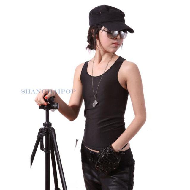 Lesbian Tomboy Crop Vest Tank Top Undershirt Breast Chest Binder FTM Black/White