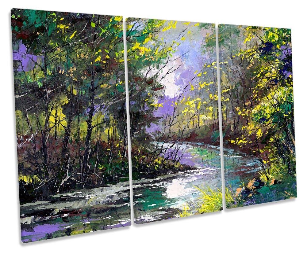 verde foresta paesaggio fluviale TREBLE TELA parete opera d'arte art print