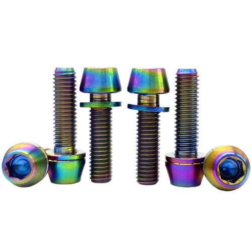 4 x Colorful M5X16 Titanium Ti Bolts Allen Hex Bike Tapered Head Screw+Washer