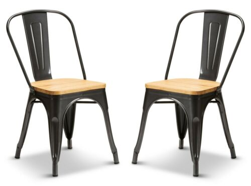 2 Graphite Grey Oak Wood Seat Tolix Style Stacking Dining Chair Metal Industrial