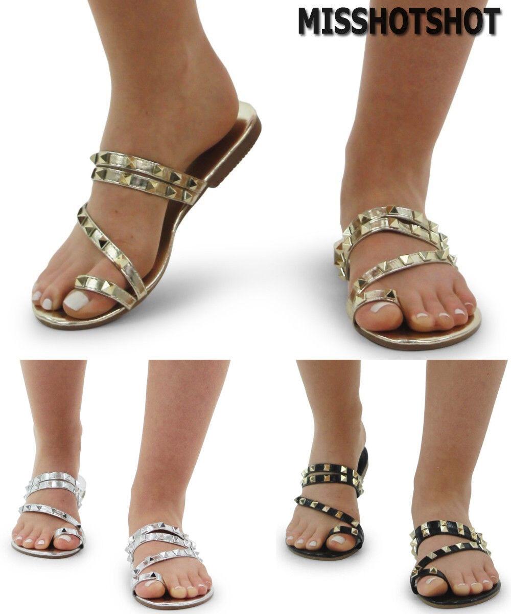 f8c158663cb Women s Ladies Flat Toe Post Shoes Girls Flip Flop Strap Studded Flat  Sliders