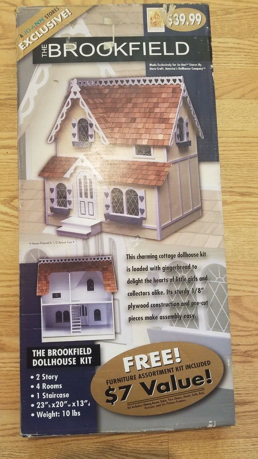 NEW OPEN BOX Vintage Dura-Craft Dollhouse  The Brookfield  Dollhouse Kit