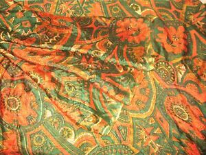 SILK-BLEND-Antique-Vintage-Sari-Saree-Fabric-Material-4yd-Z1-250-Multi-ABF2O
