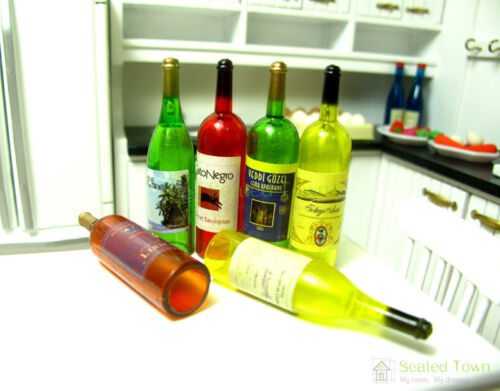 6 Wine Juice Beer Bottles Doll House Miniature Kitchen Drink Accessory 1//6 Bjd