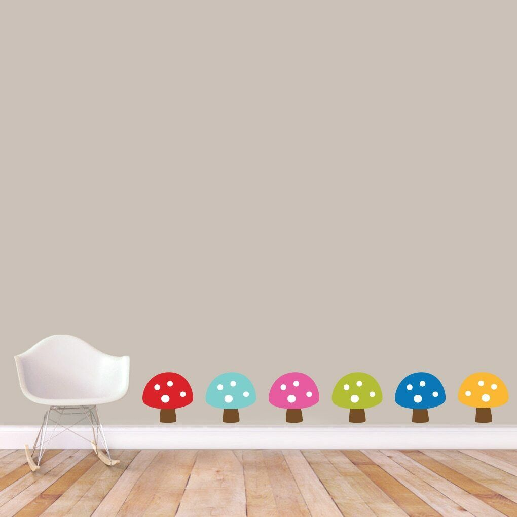 Woodland Forest Mushrooms Printed Wall Decal Set - Animals, Nursery, Nursery, Nursery, Kids Room 3fff9a