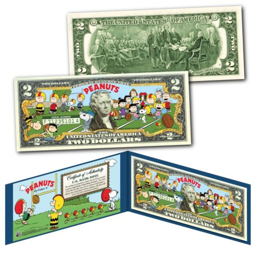 PEANUTS Charlie Brown FOOTBALL Officially Licensed Genuine Legal Tender $2 Bill