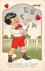 A4-Valentine-039-s-Day-Love-Holiday-Postcard-1915-Akron-Ohio-Boy-Break-Heart-13