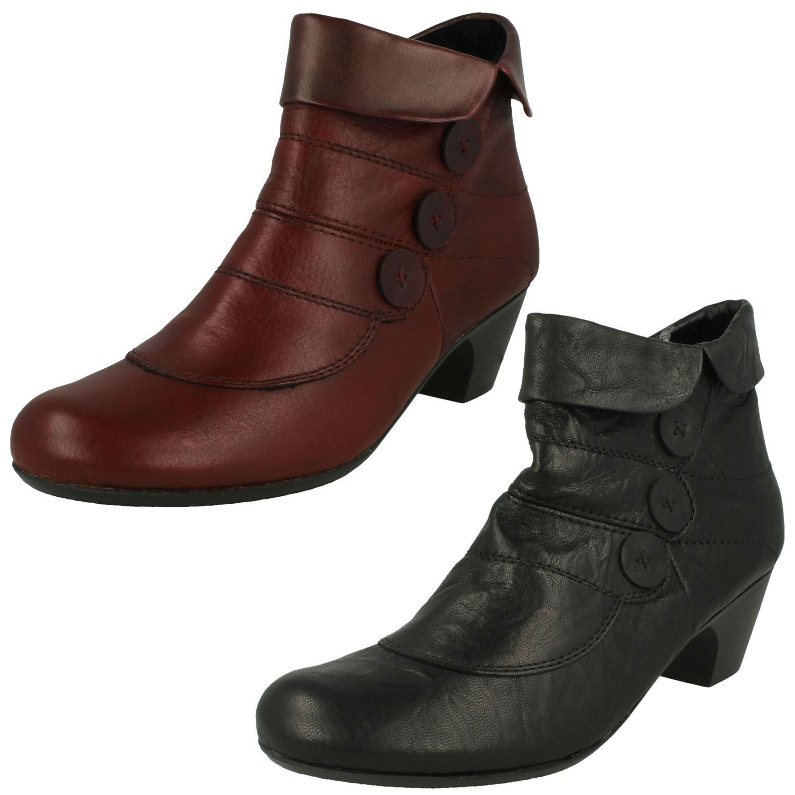 Women rieker 70562 red or black warm lined leather boots
