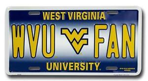 West Virginia University Mountaineers WVU FAN Car Truck Tag License Plate Vanity