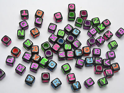 2500 Black Assorted Neon Color Alphabet Letter Cube Pony Beads 7X7mm
