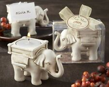Lucky Elephant Antique Ivory-Finish Tea Light Holder Candle Wedding Favor Party