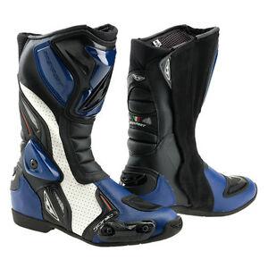 Stiefel-Leder-Motorrad-Prexport-Sonic-blau-Racing-fuer-honda-Groesse-45