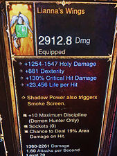 DIABLO 3 ANCIENT LIANNA'S WINGS NEW PATCH 2.5 XBOX ONE or PS4