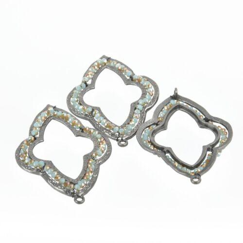 "Connector 2 Gunmetal QUATREFOIL Beaded Charms BLUE TAN Crystal 2.25/"" chs4663"