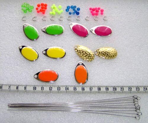 80 Teile Spinnerbau,10 French Spinnerblätter Größe 4,Gelenke,Perle,Spinnerachse