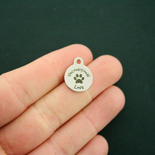 Smaller Size BFS1685 Unconditional Love Dog Paw Stainless Steel Charms