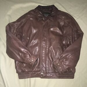 Vintage-Croft-amp-Barrow-Leather-Jacket-Bomber-Brown-Large-Classic