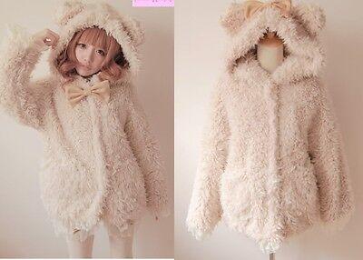 Princess Cute Sweet Gothic Nana PUNK Faux Fur Cat Ear Hoodie Jacket Coat Pink
