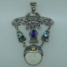 z Artisan Crafted Bali Goddess Gemstone pendant (55x38 mm)  925 Sterling Silver