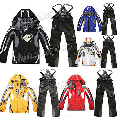Men's Waterproof Ski Suit Jacket+Pants Hooded Snowboard Mountaineering Overcoat