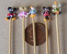 1:12 Hand Made Mickey & Friends (5) On A Stick Dolls House Miniature Nursery Toy