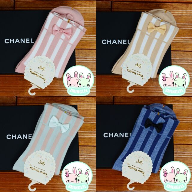 Kawaii Womens Harajuku Style Socks Cute Bowknot Colorful Striped Cotton Socks