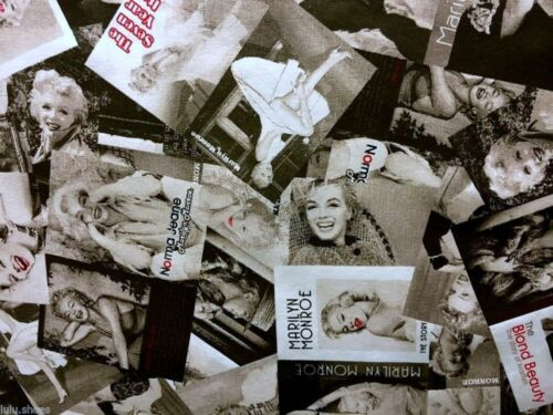 MARILYN MONROE Cotton Fabric Curtain Upholstery Material 280cm extra wide Black