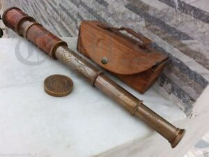 Brass-Telescope-Antique-Spyglass-Leather-Engraving-Scope-Pirate-Vintage-Style