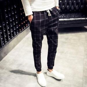 Mens Plaids Check Loose Fit Skinny Pants Boys Harem Pants Carpenter Trousers new