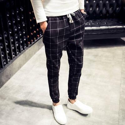 Men/'s Plaid Check Jogger Pants Fit Casual Skinny Harem Long Trousers Slacks