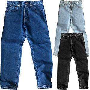 NUOVO-Da-Uomo-Gamba-Dritta-Tinta-Unita-Lavoro-Heavy-Duty-Jeans-Denim-Pantaloni-Pantaloni-Bottoms