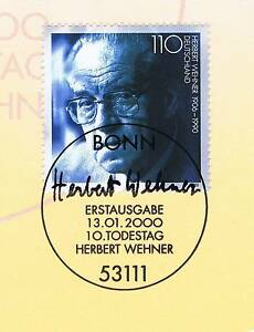 Charitable Rfa 2000: Herbert Wehner Nº 2092 Avec Propre Bonner Ersttags Cachet! 1a! 1511-l! 1a! 1511fr-fr Afficher Le Titre D'origine Construction Robuste