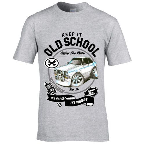 Koolart Keep it old school Retro Mk2 Escort Mexico car motif mens t-shirt gift