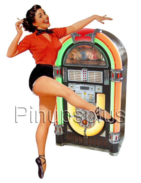 Retro Style Pinup Girl Waterslide Decal Vintage 50s Style Jukebox  S279