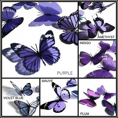 Purple Butterflies-3D, Weddings, Parties, Scrapbooking, Cards, Bouquets, Windows