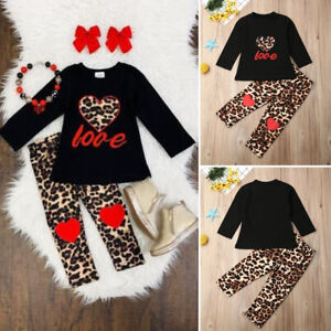 release date buy good buy online US Autumn Toddler Baby Girl Clothes Tops T-shirt Leopard Leggings ...