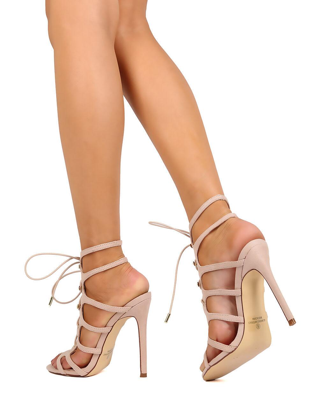 New Women Liliana Tisha-8 Faux Suede Open Toe Strappy Lace Up Stiletto Sandal