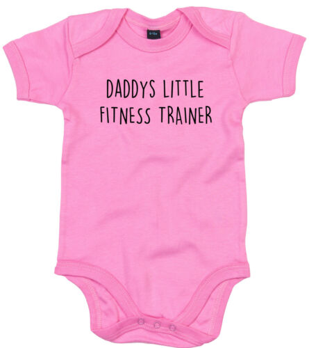 FITNESS TRAINER BODY SUIT PERSONALISED DADDYS LITTLE BABY GROW GIFT