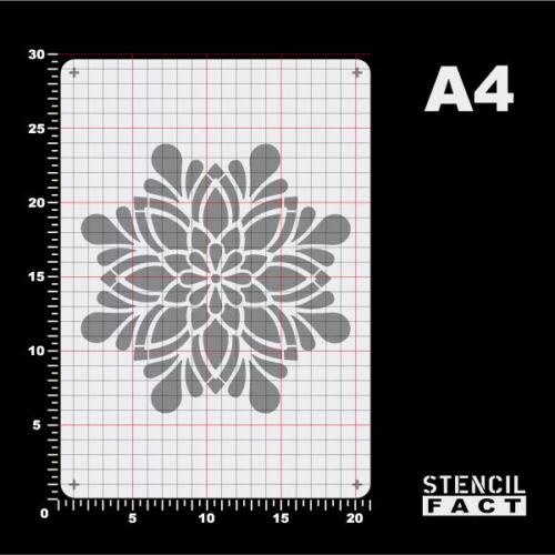 A4 Schablone Mandala Blume Stern BE483