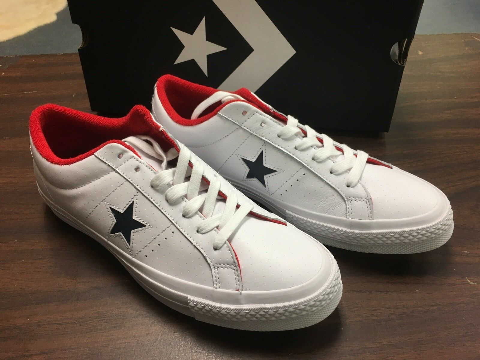 CONVERS ONE STAR OX Weiß  ATHLETIC NAVY  rot 160555C MENS 11